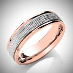 Two Colour Flat Court Milled Grain Design Wedding Ring 6mm wide in a choice of  Rose or Yellow Gold